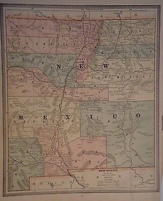 Vintage 1885 New Mexico Territory Map Old Original Antique Atlas Map 040617