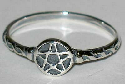 RING: SIZE 4 PENTAGRAM  SILVER 925 - Wicca Pagan Witch Goth Punk Charmed Occult