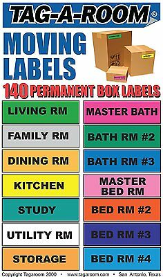 Tag-A-Room Moving Labels, 140 Count Color Coded Moving Stickers Labels, Moving x