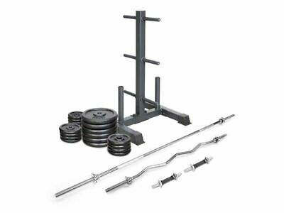 New Lifespan Fitness 120Kg Cast Iron Weight Set With Stand With Bars And Plates