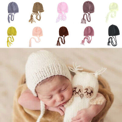 Newborn Baby Girls Boys Crochet Knit Costume Photography Prop Outfits Caps Hats