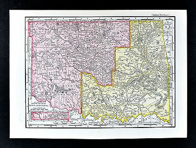 1895 McNally Map Oklahoma Indian Territory Tahlequah Cherokee Choctah Chickasaw