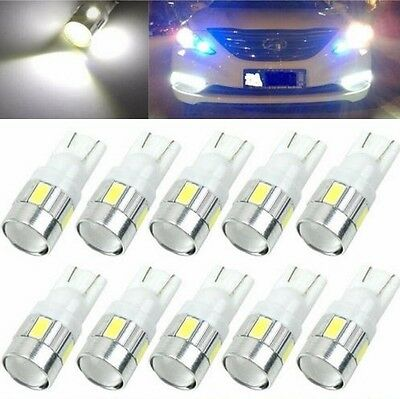 10x T10 W5W 5630 6-SMD LED Car Wedge Side Light Bulbs Lamp 168 194 192 158 White