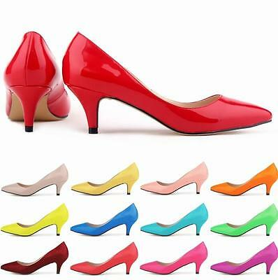Women's Low Mid Kitten Heels Office Work Patent Leather Pointed Toe Pumps Shoes