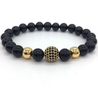 Fashion High Quality Lava Stone Beads And Black CZ Ball Men Charm Bracelets Gift