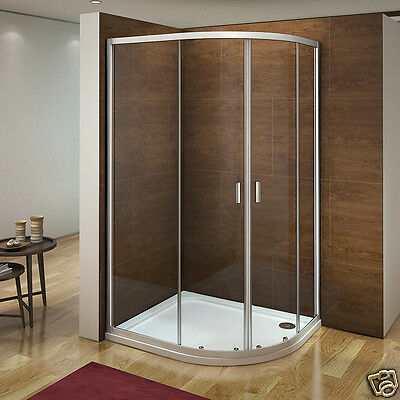Offset Quadrant Shower Enclosure Walk In Corner Cubicle Glass Screen Tray Waste
