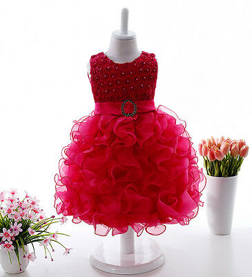 Baby Girl Kid Christening Birthday Wedding Party Occasion Prom Flower Gown Dress