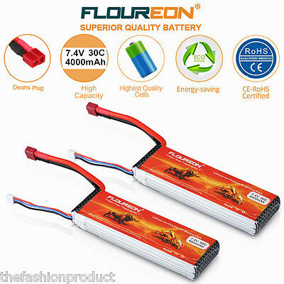 2X 2S 30C 7.4V 4000mAh LiPo Battery Pack Deans For RC Car Truck Airplane Hobby