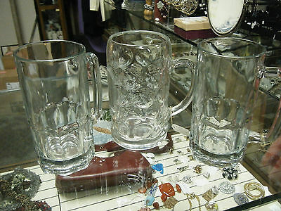 Lot of 3 Antique Thick Heavy Clear Glass Beer Steins