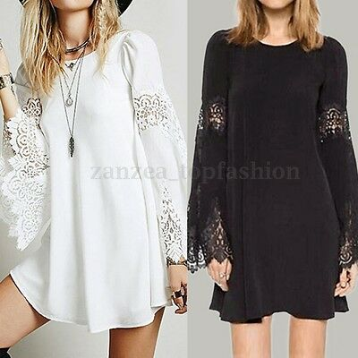 ZANZEA Women Oversized Lace Hollow Out Loose Cocktail Party Mini Shirt Dress