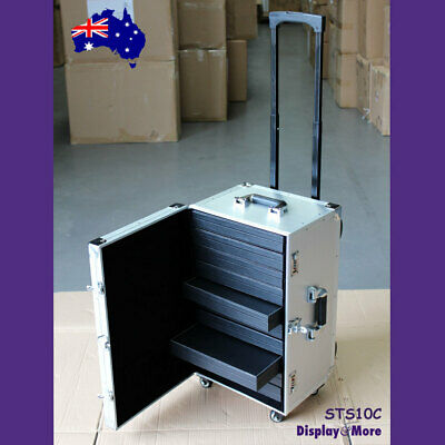 NEW Jewellery TRAVEL Luggage Trolley Suitcase + 10 Leather Cases | AUSSIE Seller
