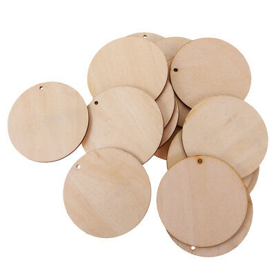 50pcs Blank Round Wood Pieces Slice Gift Tags with Hole for Craft DIY 50mm