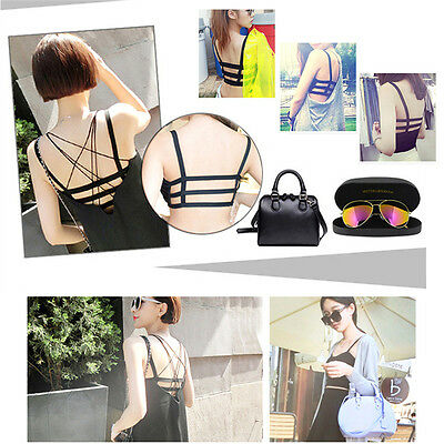 Women Caged Back Cut Out Strappy Padded Bra Bralet Camisole Vest Crop Top