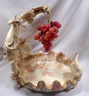 Rare Antique Doulton Burslem Porcelain Grape Server, Centerpiece, 1890 England