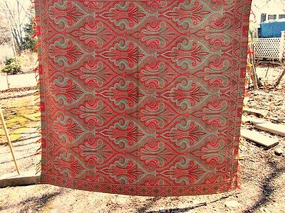 "Vintage PAISLEY SHAWL,C.1870,Reversible,Colorful Wool,68"" X 65"","