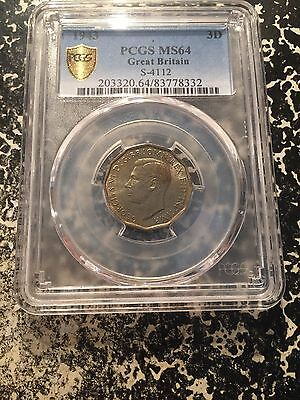 1943 Great Britain 3 Pence Threepence PCGS MS64 Lot#G163 Tied Finest Graded!