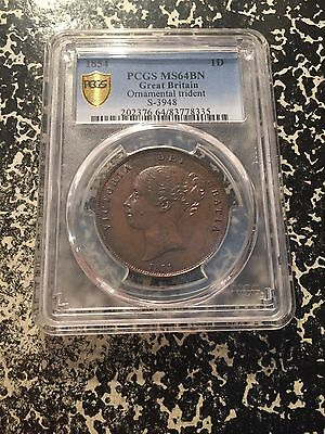 1854 Great Britain 1 Penny PCGS MS64 Brown Lot#G166 Ornamental Trident Beautiful