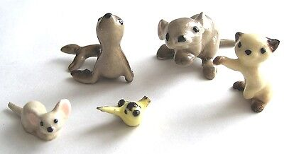 LOT 5 Hagen-Renaker Miniatures CAT-YELLOW BIRD-BABY SEAL-2 MICE/MOUSE with FLAWS