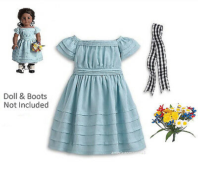 "American Girl ADDY FLOWER PICKING DRESS & BOUQUET for 18"" Dolls Blue Dress NEW"