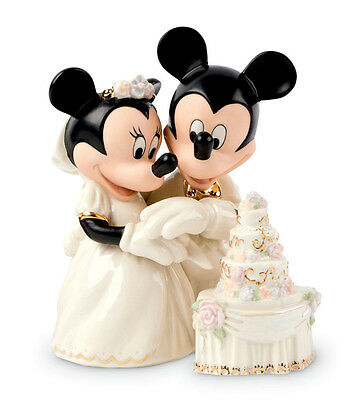 Lenox Disney MINNIE'S DREAM WEDDING CAKE w/Mickey Cake Topper Figure New