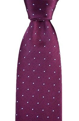 "Mens BRIONI Italy Burgundy Polka Dot Hand Made Woven 3.25"" Silk Neck Tie NWT!"