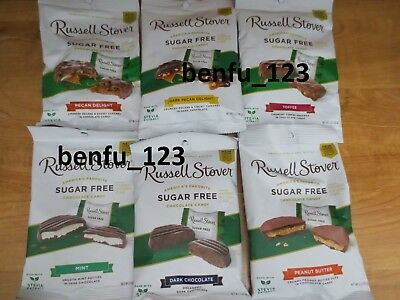 4 Russell Stover Sugar Free Chocolate Candy U PICK 3oz Pecan Coconut Toffee Dark