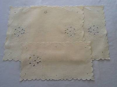 Vintage Yellow Madeira Linen Embroidered Tray Doily Placemat Set Cutwork NWT
