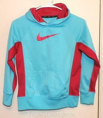 NIKE GIRLS (M) THERMA-FIT TEAL BLUE AND DARK PINK HOODIE SWEATSHIRT w/POUCH