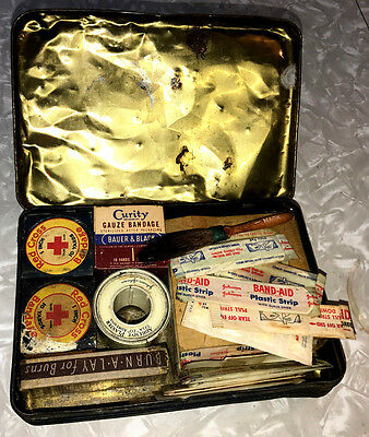 Shabby First Aid Kit Vintage Johnson &johnson Full-Contents Metal Bandages Neat!