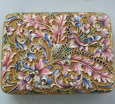 Fine Imperial Russian Silver Shaded Enamel Card or Cigarette Case by N. Zverev