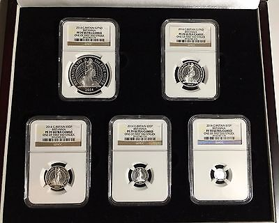 * 2014 UK Britannia 5-Coin Silver Proof Set NGC PF70 Ultra Cameo, #387 of #550 *