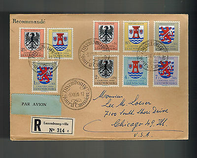 1956 Luxembourg First Day Cover to USA Coat of Arms Set # B192-B197