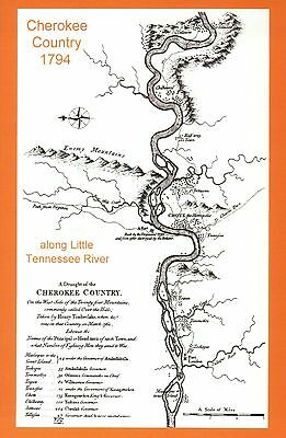 Cherokee Country 1794 Little Tennessee River Native American Indian Map Postcard