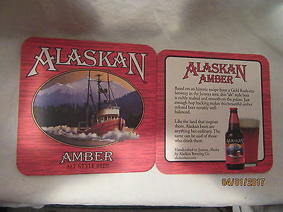"""Alaskan Amber Alt Style Beer 4"""" X 4"""" Coasters (2 Only)"""