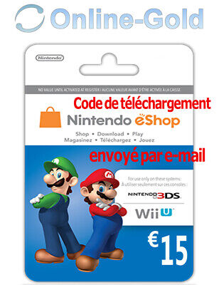 Nintendo Eshop CARD 15€ Carte de Jeu Console compatible 3DS/Wii U/Switch[NEUF]