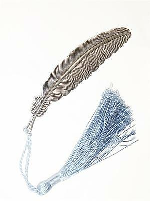 Bookmark - Large Feather With Blue Tassel - Silver Plated With Antiqued Finish