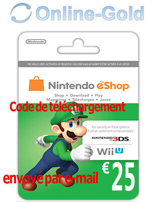 Nintendo Eshop CARD 25€ Carte de Jeu Console compatible 3DS/Wii U/Switch[NEUF]