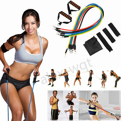 11pcs Resistance Exercise Workout Tube Heavy Fitness Band Yoga Physio Crossfit