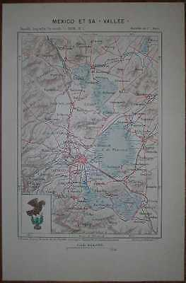 1891 Reclus map MEXICO CITY AND ITS VALLEY, MEXICO (#1)