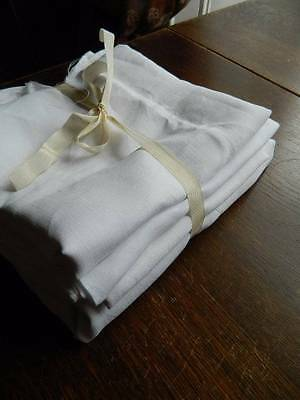 Bundle 4 lengths of antique white smooth Irish linen fabric.