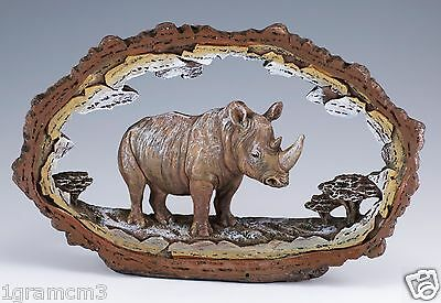 "Rhinoceros Figurine Carved Wood Look Frame 7.5"" Long Highly Detailed Resin NIB"