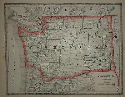 Vintage 1884 Washington Territory Old Original Antique Atlas Map Free S&H 033017