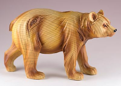 Bear Carved Wood Look Figurine Resin 7 Inch Long New In Box!