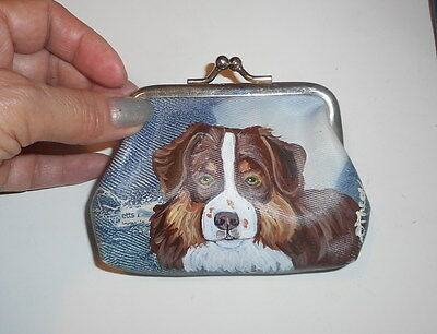 Red and tan Australian Shepherd dog Hand Painted Leather Coin Purse Vegan