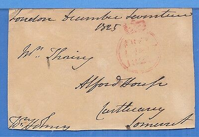 """17 Dec. 1825 British Red Crown Postmark, Panel Signed by William """"Billy"""" Holmes"""