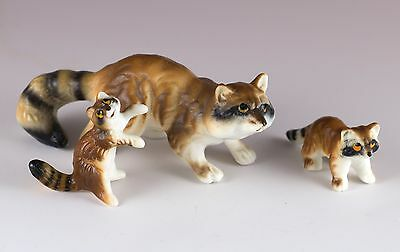 Vintage Miniature Set of 3 Bone China Raccoon Family Figurines Matte Finish