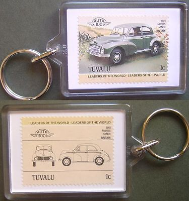 1949 MORRIS MINOR Car Stamp Keyring (Auto 100 Automobile)