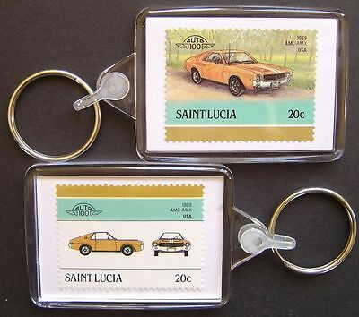 1969 AMC AMX Car Stamp Keyring (Auto 100 Automobile)