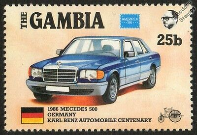 1986 MERCEDES BENZ 500 Germany CAR STAMP (1986 The Gambia)
