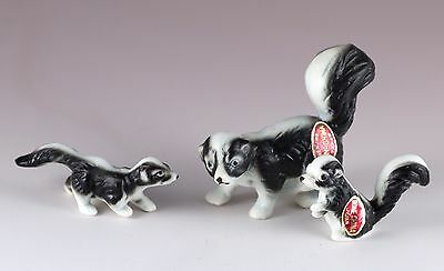 Vintage Miniature Mom & Babies Bone China Skunk Family Figurines Matte Japan